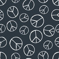 Seamless pattern with hand drawn hippie peace symbol. Hippy pacific sign.