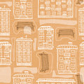Seamless pattern of hand drawn houses and benches. Abstract cityscape background. White and brown
