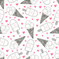 Seamless pattern with hand drawn ice creams. Doodle cream vector cute hearts