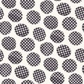 Seamless pattern. Hand drawn imperfect polka dot spot shape background. Monochrome textured dotty black and white imperfect circle