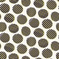 Seamless pattern. Hand drawn imperfect polka dot spot shape background. Monochrome textured dotty green circle all over print