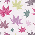 Seamless pattern with hand drawn japan maple leaves Stock Photography