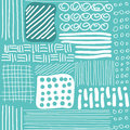 Seamless pattern with hand drawn lines, dots and