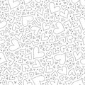 Seamless pattern with hand drawn monochrome hearts in zentangle
