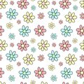 Seamless pattern of hand-drawn multicolored flowers. Vector background image for holiday, baby shower, girl's birthday, prints i