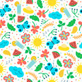 Seamless pattern with hand drawn objects: sun, cloud, flowers, leaves, cocktail, butterfly. Royalty Free Stock Photo