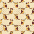 Seamless pattern with hand drawn owls.