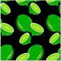 Seamless pattern hand drawn painting green lime on black stock vector illustration Royalty Free Stock Photo