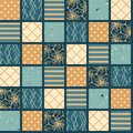 Seamless pattern. Hand drawn patchwork quilt grid. Festive folk art mosaic collage background. Traditional geometric holiday all