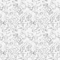 Seamless pattern with hand drawn people Stock Photos