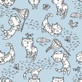 Seamless pattern with hand-drawn playful kittens with birds, but