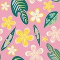 Seamless pattern of hand drawn plumeria tropical flowers and leaves on a pink background.