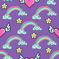 Seamless pattern with a hand drawn rainbow, stars and flying hearts.