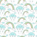Seamless pattern of hand-drawn rainbows and clouds with rain. Vector background image for holiday, baby shower, unicorn prints, wr