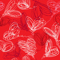 Seamless pattern with hand drawn scribble hearts Stock Photos