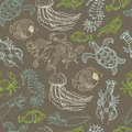 Seamless pattern with hand drawn sea animals on a brown background