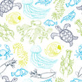 Seamless pattern with hand drawn sea animals