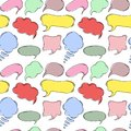 Seamless pattern with hand drawn sketch speech bubbles. Royalty Free Stock Photo