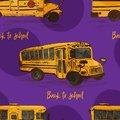 Seamless pattern with hand-drawn sketch yellow bus, isolated background Back to school theme, education concept color