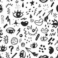 Seamless pattern with hand drawn sketched doodle elements eyes and lips, abstract background. Typography design print, vector illu Royalty Free Stock Photo
