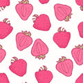 Seamless pattern with hand drawn strawberry flavor