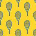 Seamless pattern with hand drawn tennis racket Royalty Free Stock Photo