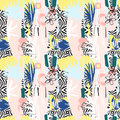 Seamless pattern of Hand drawn Tropical palm leaves, flowers, birds.