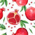 Seamless pattern with hand drawn watercolor painting pomegranate isolated on white background.