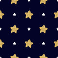 Seamless pattern with hand drawn white and golden stars on a dark background.