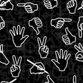 Seamless pattern with hand gestures Royalty Free Stock Photos