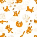 Seamless pattern with hand painted Orange Cats in different poses