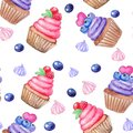 Seamless pattern with hand painted watercolor sweet cupcake and marhmallow, berries. Print, package design, wrapping, textile