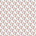 Seamless pattern handdrawn birds flowers leaves red pink summer spring cute Royalty Free Stock Photo
