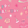 A seamless pattern of a happy birthday greeting and birthday party elements Royalty Free Stock Image