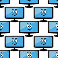 Seamless pattern of a happy desktop computer monitor with smiling face on the screen in blue Royalty Free Stock Photo