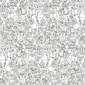 Seamless pattern of happy laughing people. Royalty Free Stock Photo