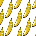 Seamless pattern of happy ripe yellow bananas Royalty Free Stock Photography