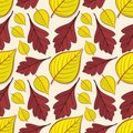 Seamless pattern with hawthorn and linden leaves.