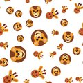 Seamless pattern of the head of a lion and a giraffe