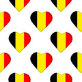 Seamless pattern from the hearts with Belgium flag.