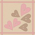 Seamless pattern with hearts buttons and braid pink brown Stock Photos