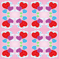 Seamless pattern with hearts and clouds Royalty Free Stock Images