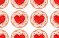 Seamless pattern with hearts cream cakes and red Royalty Free Stock Photography