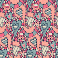 Seamless pattern with hearts in doodle style vector illustration Stock Images