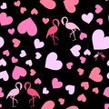 Seamless pattern with hearts and flamingo.