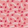 Seamless pattern with hearts lips and inscription love on pink