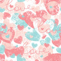 Seamless pattern with hearts and love letters Royalty Free Stock Images
