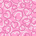 Seamless pattern with hearts on pink