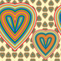 Seamless pattern with hearts of rainbow Stock Photography