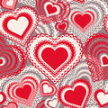 Seamless pattern with hearts vector colorful background abstract illustration red and white Stock Photography